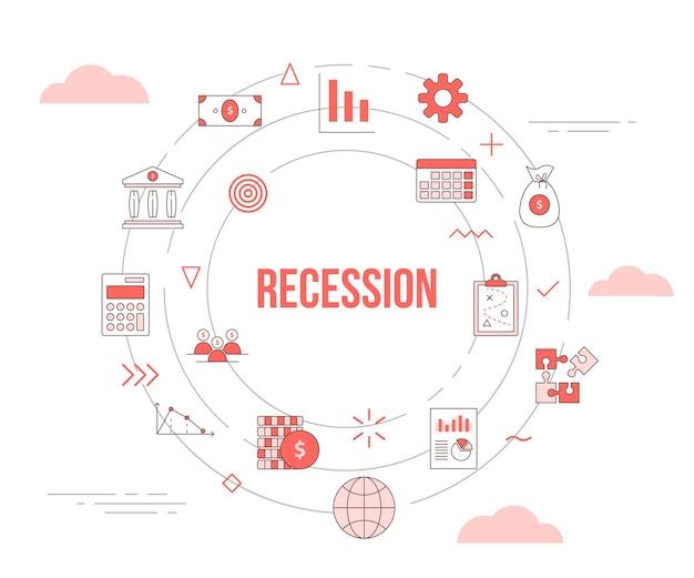 Conceito de recessão de negócios com conjunto de banner de modelo com formato redondo de círculo