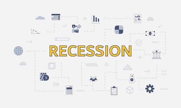 Conceito de recessão de negócios com conjunto de ícones com palavra grande ou texto no centro