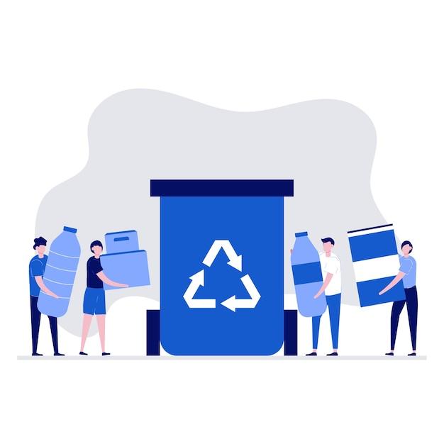 Conceito de reciclagem com personagens segurando diferentes tipos de resíduos.