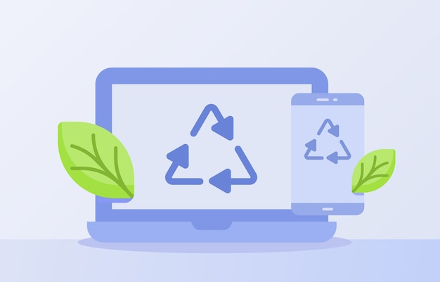 Conceito de reciclagem de lixo eletrônico reciclar ícone de triângulo na tela do smartphone do laptop com fundo branco isolado