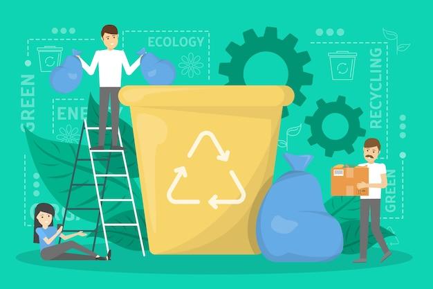 Conceito de reciclagem. ecologia e cuidado com o meio ambiente. ideia de lixo