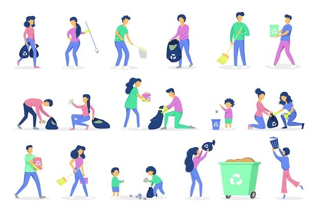 Conceito de reciclagem. ecologia e cuidado com o meio ambiente. ideia de reaproveitamento de lixo. voluntários recolhendo e separando papel e lixo plástico. coleta de lixo com família. ilustração