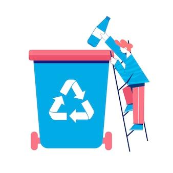 Conceito de reciclagem. homem colocando a garrafa de plástico para uma lata de lixo. ilustração.