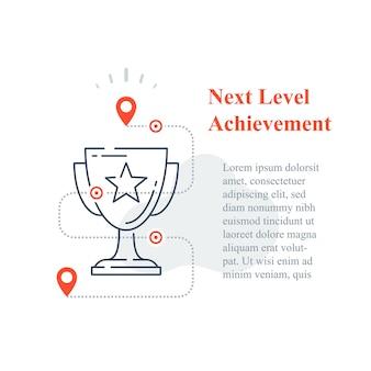 Conceito de recompensa de competição, prêmio de excelência, copo vencedor, estratégia para o sucesso, melhoria de nível seguinte, troféu de alta realização, programa de incentivo, objetivo de longo prazo, ícone de linha