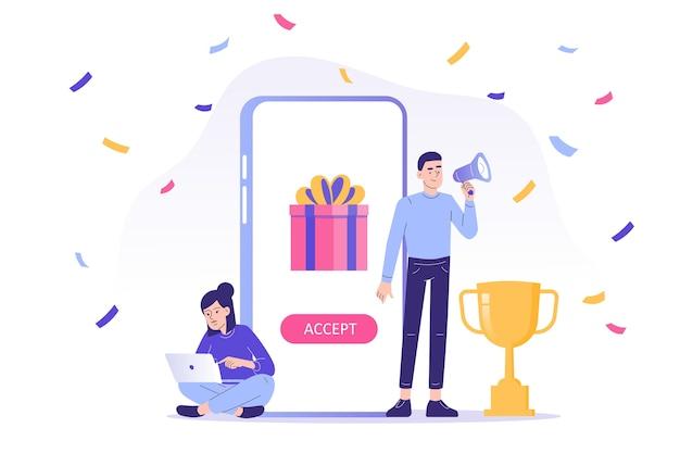 Conceito de recompensa online com as pessoas recebem uma caixa de presente do aplicativo para smartphone