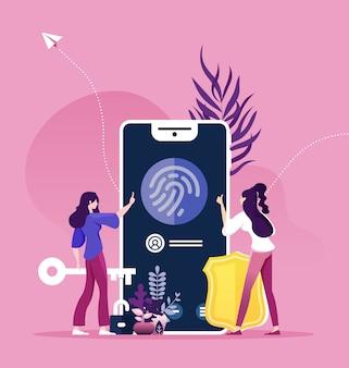 Conceito de reconhecimento de dedo, proteção de segurança on-line