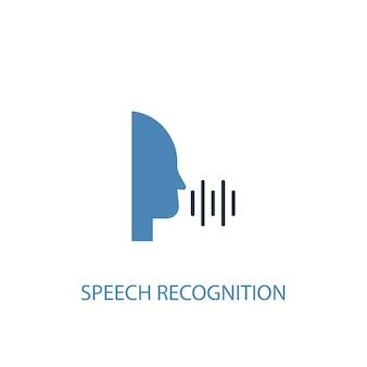 Conceito de reconhecimento de fala 2 ícone colorido. ilustração do elemento azul simples. projeto de símbolo de conceito de reconhecimento de fala. pode ser usado para ui / ux da web e móvel