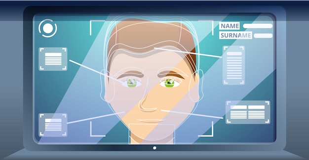 Conceito de reconhecimento de rosto de escritório, estilo cartoon