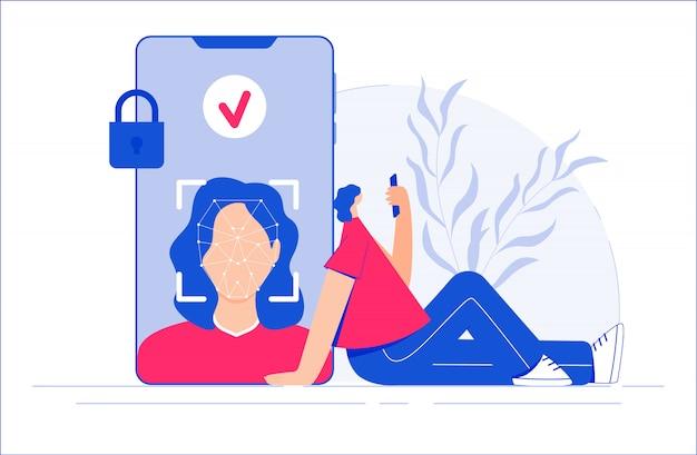 Conceito de reconhecimento de rosto. mulher examinando seu rosto usando a câmera do smartphone. ilustração.