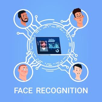 Conceito de reconhecimento de rosto sistema de controle de acesso moderno