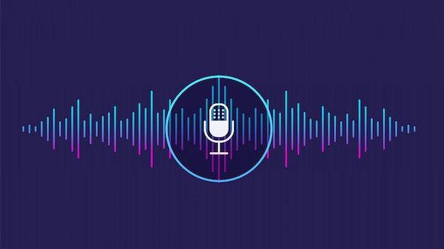 Conceito de reconhecimento de voz. onda sonora com imitação de voz, som e ícone de microfone.