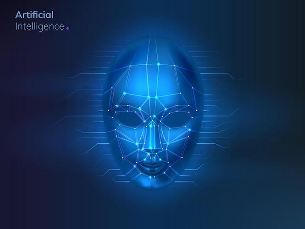 Conceito de reconhecimento digital de rosto.