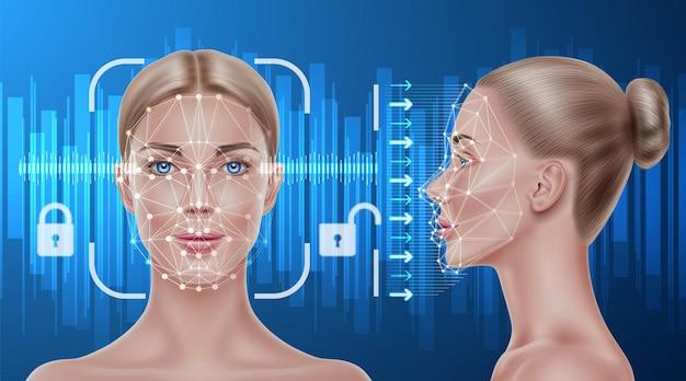 Conceito de reconhecimento facial vetorial varredura biométrica de rosto de uma garota realista. verificação pessoal