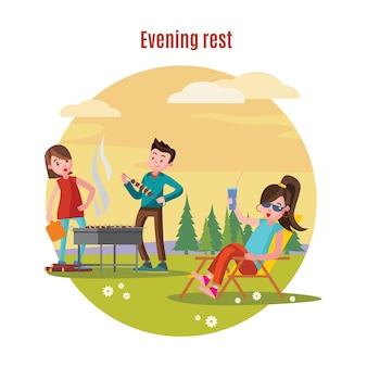 Conceito de recreação ao ar livre colorido