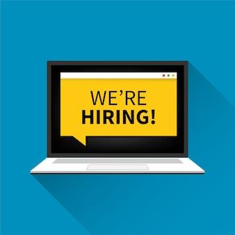 Conceito de recrutamento aberto online. contratação de trabalho na ilustração do navegador do laptop