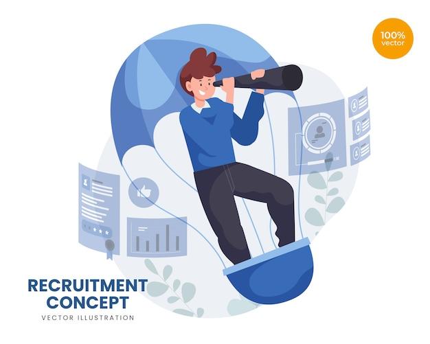 Conceito de recrutamento com empreendedor em busca de novo funcionário com balão