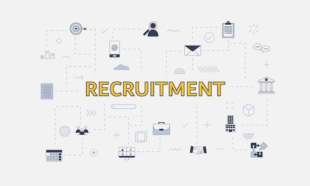 Conceito de recrutamento com ícone definido com grande palavra ou texto no centro