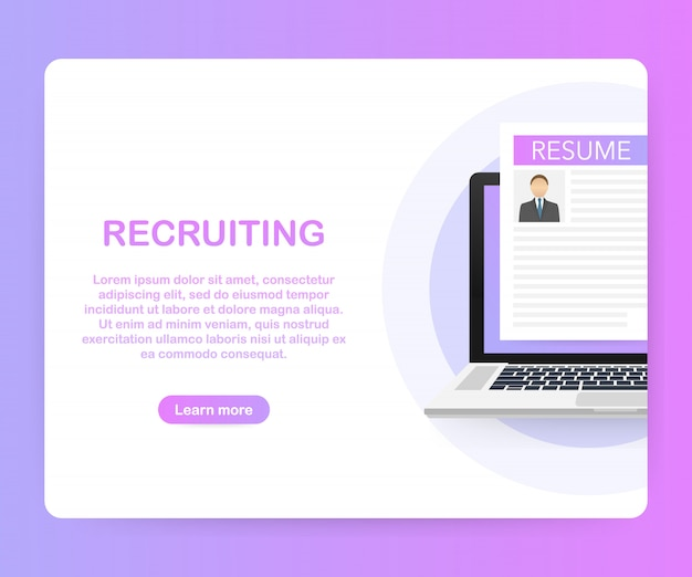 Conceito de recrutamento. contrate trabalhadores, os empregadores escolhidos buscam a equipe por emprego. .