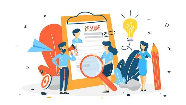 Conceito de recrutamento. ideia de escolha de um candidato a contratar. gestão de recursos humanos. linha plana