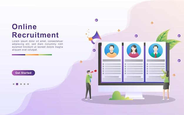 Conceito de recrutamento online. pesquisa de empregos online e recursos humanos, estamos contratando, agência de empregos hr creative find experience.