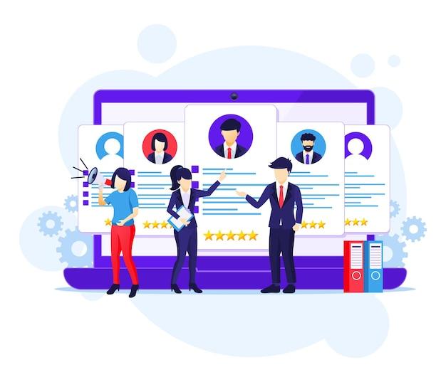 Conceito de recrutamento online, pessoas que procuram o melhor candidato para um novo funcionário, contratação de ilustração vetorial plana