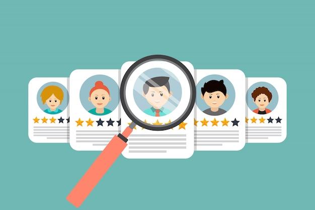 Conceito de recrutamento, recursos humanos, ilustração