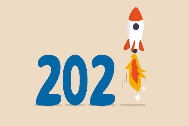 Conceito de recuperação econômica do ano novo de 2021