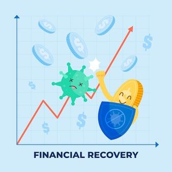 Conceito de recuperação financeira de coronavírus