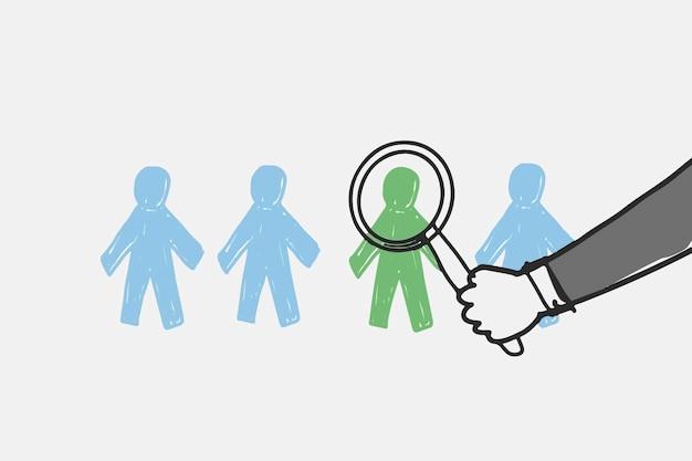Conceito de recursos humanos de vetor de doodle de negócios