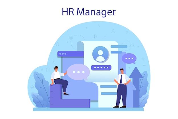 Conceito de recursos humanos. ideia de recrutamento e gestão de empregos. gestão do trabalho em equipe. ocupação do gerente de rh.