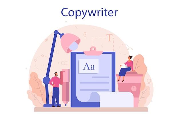 Conceito de redator. ideia de redação de textos, criatividade e promoção. fazendo conteúdo valioso e trabalhando como freelancer.
