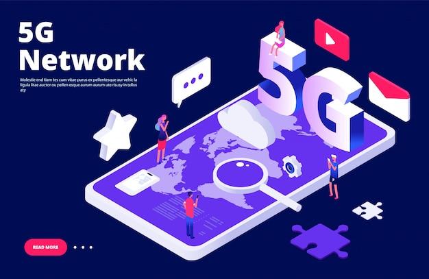 Conceito de rede 5g. página inicial da internet sem fio 5g global