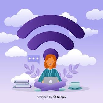 Conceito de rede de design plano wifi