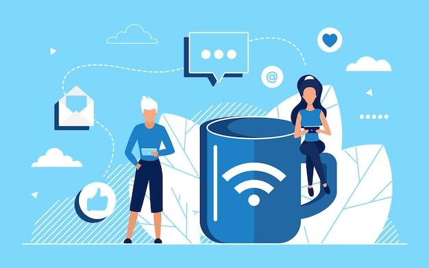 Conceito de rede de mídia social com usuários de internet conversando