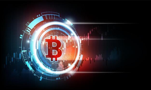 Conceito de rede mundial de tecnologia futurística de moeda digital bitcoin