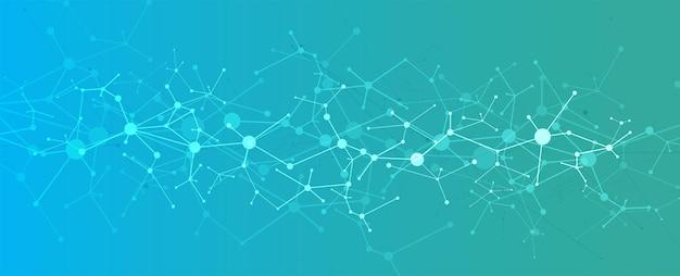 Conceito de rede neural. células conectadas com links. processo de alta tecnologia. fundo futurista abstrato