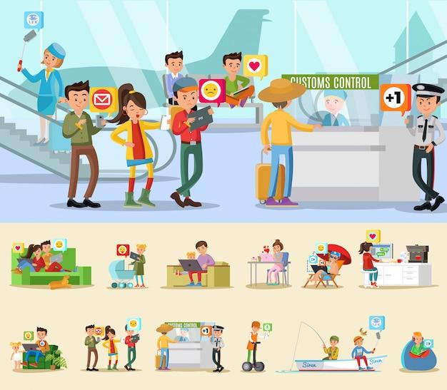 Conceito de rede social colorida