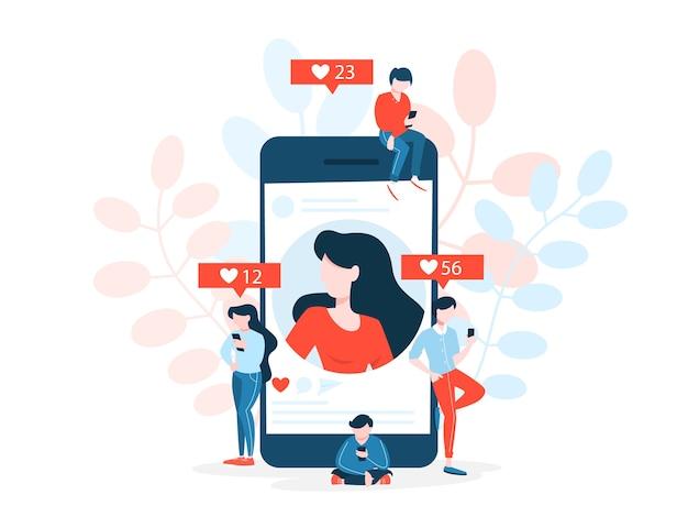 Conceito de rede social. comunicação e conexão em todo o mundo