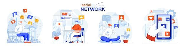 Conceito de rede social definir usuários navegando em feeds, postar fotos como comentários