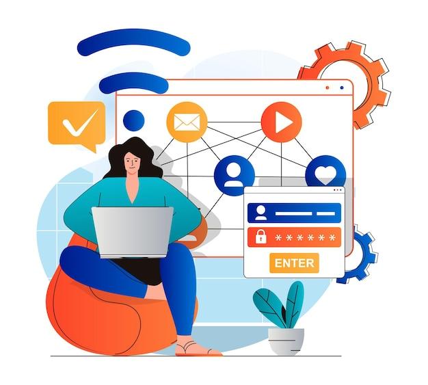 Conceito de rede social em design plano moderno mulher obtém acesso ao perfil com senha e login