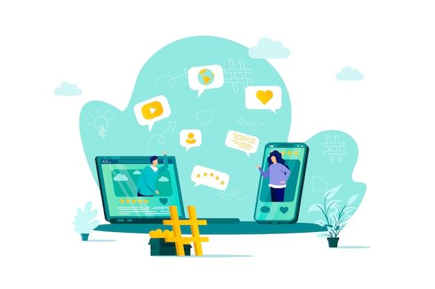 Conceito de rede social em grande estilo com personagens de pessoas em situação