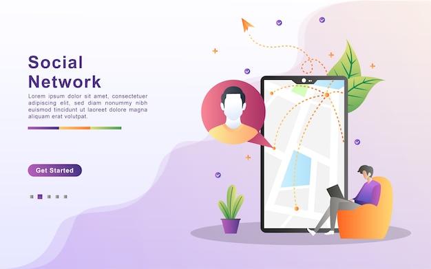 Conceito de rede social homens e mulheres usam as redes sociais conheça e converse nas redes sociais interaja e ofereça negócios