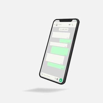 Conceito de rede social. modelo em branco. janela do messenger. conceito de bate-papo e mensagens.