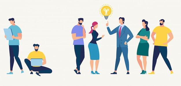 Conceito de rede social. trabalho em equipe. personagem de pessoas