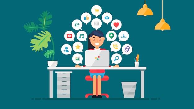 Conceito de rede social web para blog e redes sociais, compras online e e-mail, arquivos de vídeo, imagens e fotos. elementos para contagem de visualizações, curtidas e repostagens. vetor