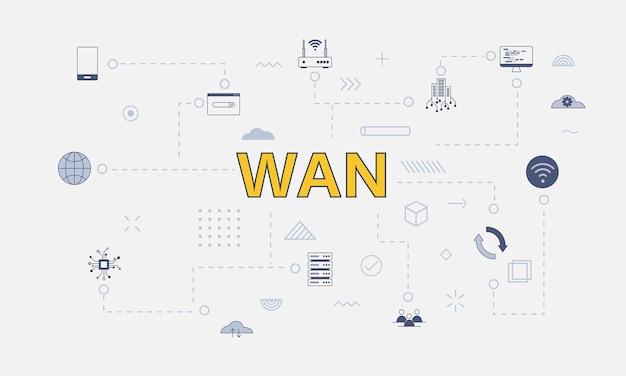Conceito de rede wan de longa distância com conjunto de ícones com uma palavra grande ou texto no centro