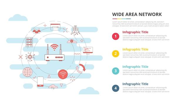 Conceito de rede wan de longa distância para banner de modelo infográfico com vetor de informações de lista de quatro pontos