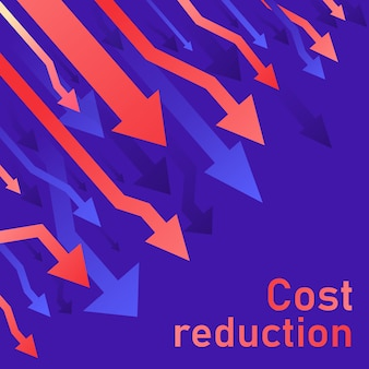 Conceito de redução de custos. negócios perdidos crise diminuem. diagrama do mercado de comércio financeiro de ações. ilustração de linha fina de idéia de conversão de vendas. fundo azul (roxo)