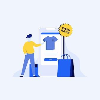 Conceito de reembolso com compras on-line