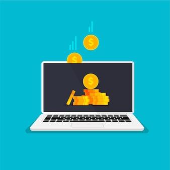 Conceito de reembolso economizando dinheiro reembolso de dinheiro pilha de moedas de ouro na tela do laptop